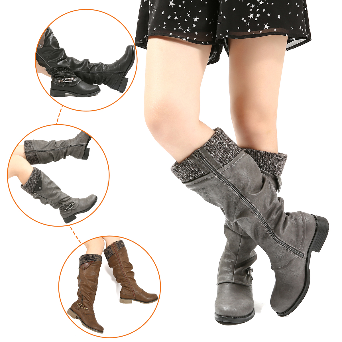 Ankle Strap Buckle Comfort Heel Pull On Leather Long Booties Nevera Women Winter Low Heel Knee High Riding Boots