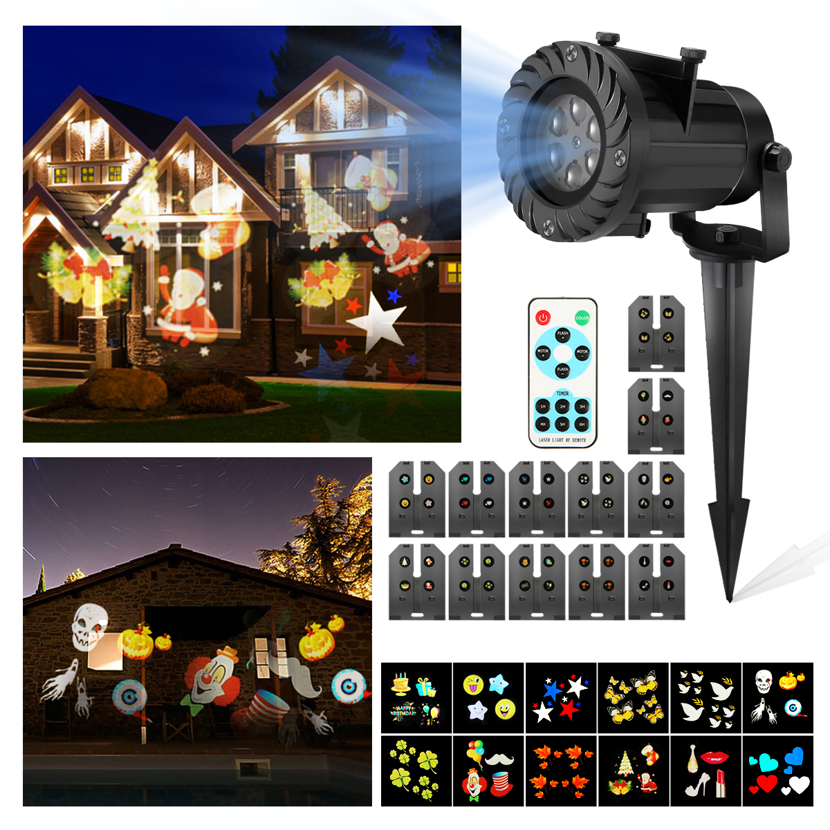 Christmas projector lights camtoa 12 pattern led light for Projecteur led exterieur noel
