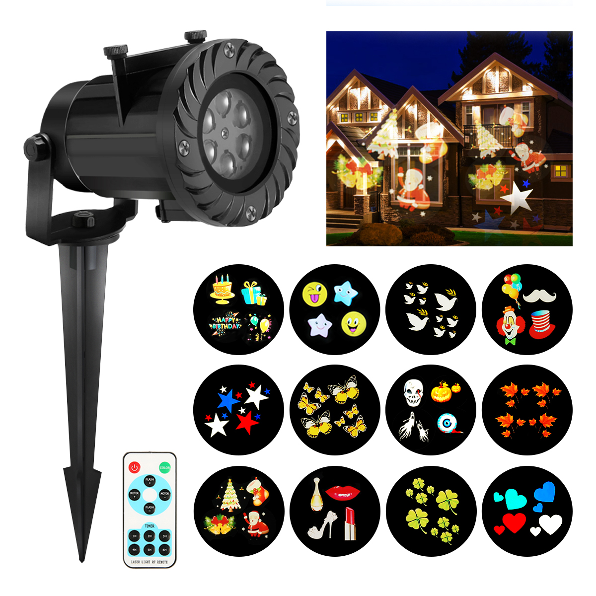 Christmas projector lights camtoa 12 pattern led light projector star shower projector light for Star shower projecteur
