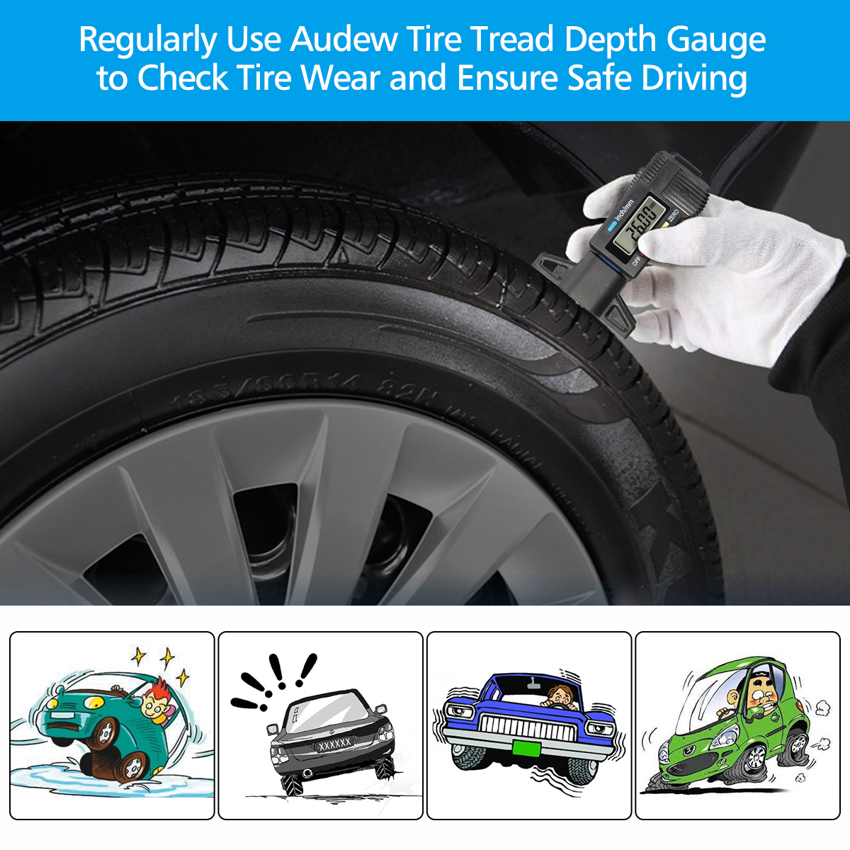 Safety Auto Coded Tire Tread Measurement Depth Gauge SA