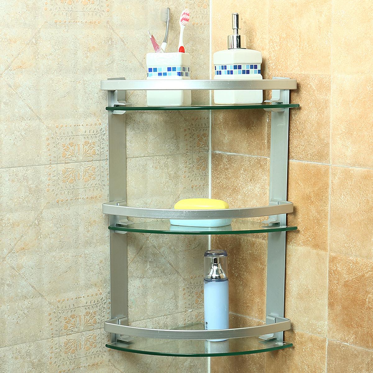 Tempsa 3 tag re d 39 angle tablette support murale douche salle de bain en verre stockage - Tablette d angle salle de bain ...