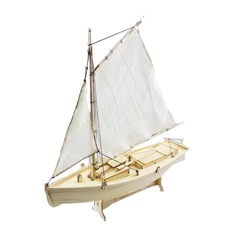 TEMPSA Bateau de pêche en bois modèle diy 25x25x7cm cadeau jouet déco table 8n3Ys