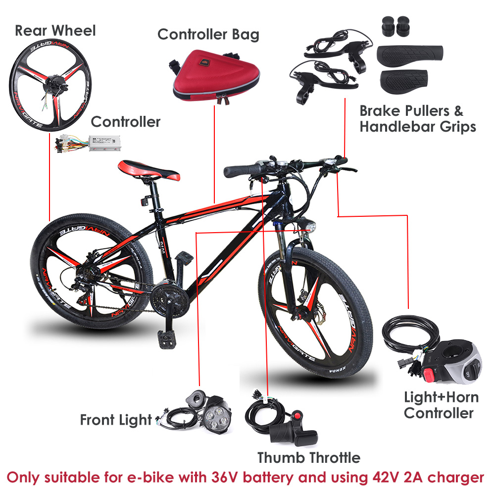 Vélo électrique Vélo Pouce Throttle câblage Guidon 24 V 36 V 48 V Conversion