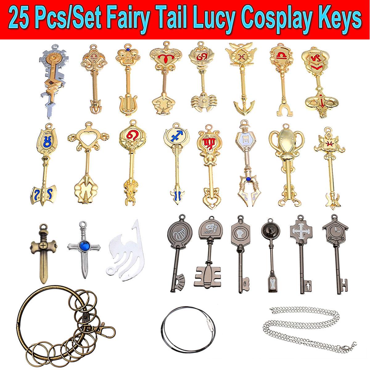 18pcs//Set Fairy Tail Coffret Chaîne Collier Pendentif Clés pour Cosplay