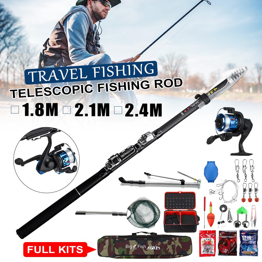 2.1 M Fibre de Carbone Télescopique Pêche Spinning Rod pôle poisson Rod 10x Poisson Leurre