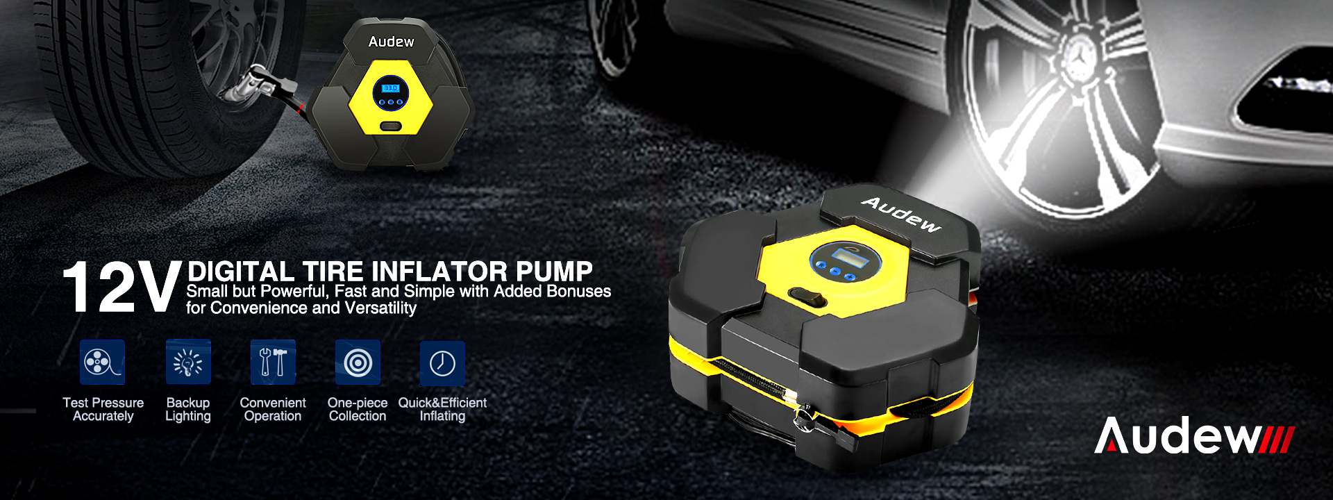 Audew 150PSI Portable Air Compressor Pump 12V DC Tire Inflator