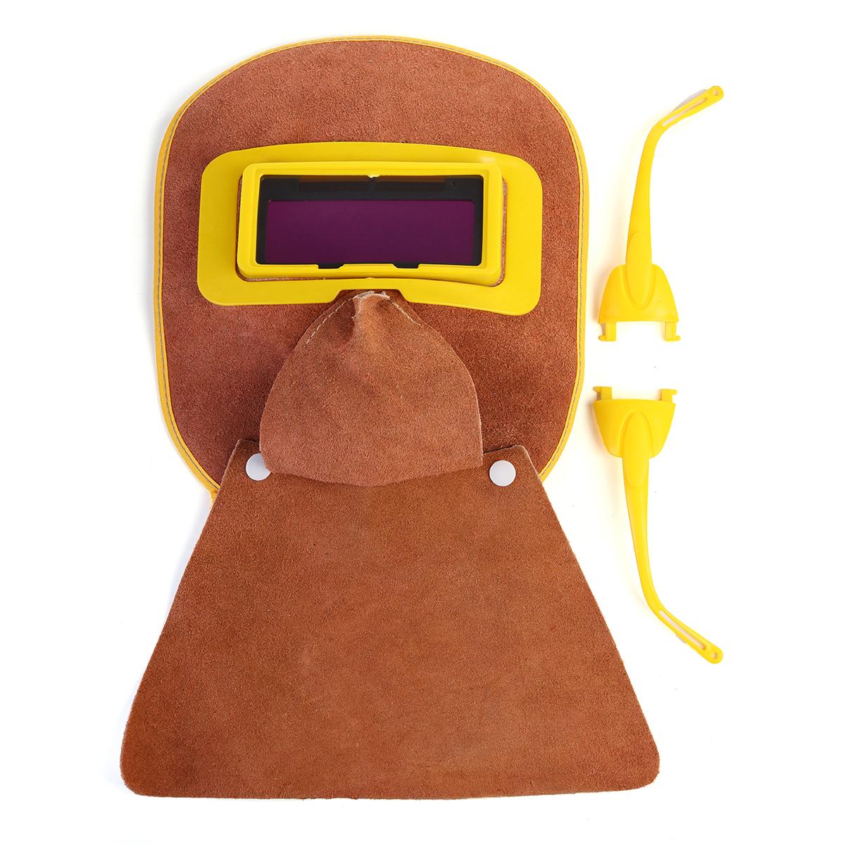 capot en cuir casque masque solaire Automatique filtre lentille soudage soudeur