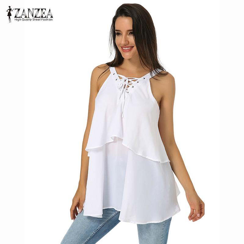 841646e31f84 ซื้อ  Global ZANZEA Spring Summer Women Lace Up Double-Layered ...
