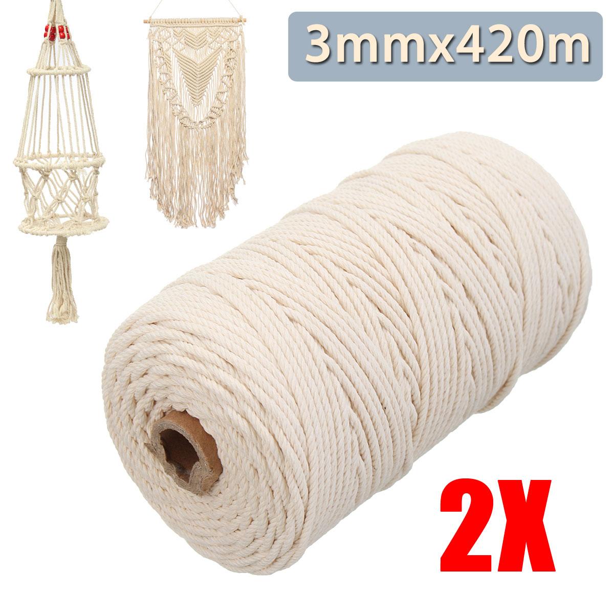 3mmx420m beige naturel macram fil coton corde torsad e. Black Bedroom Furniture Sets. Home Design Ideas