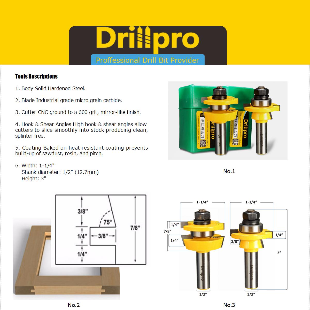 drillpro router bit product discription