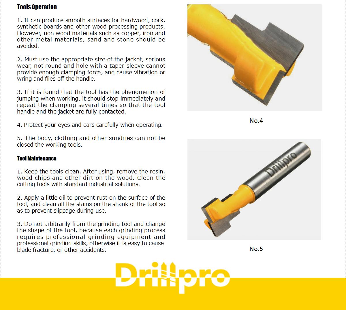 drillpro router bit discription