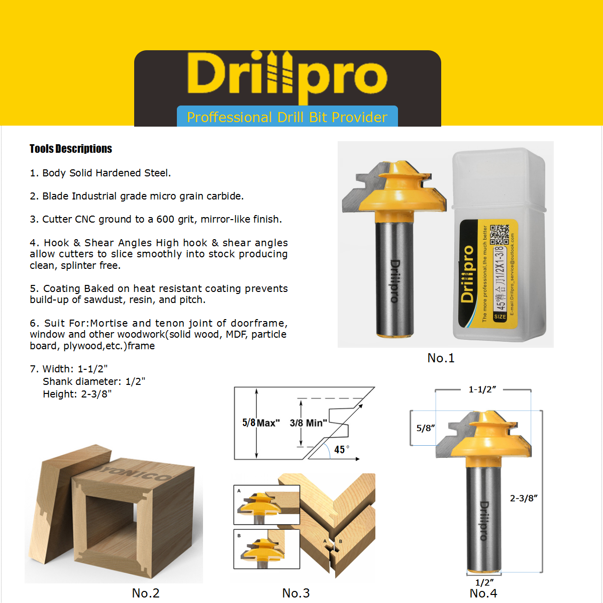 drillpro router bit product discription