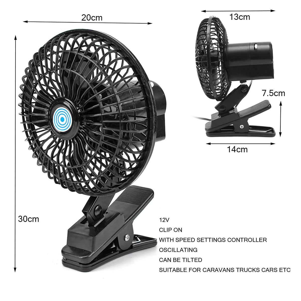 Ventilateur oscillant 12v montage par clip