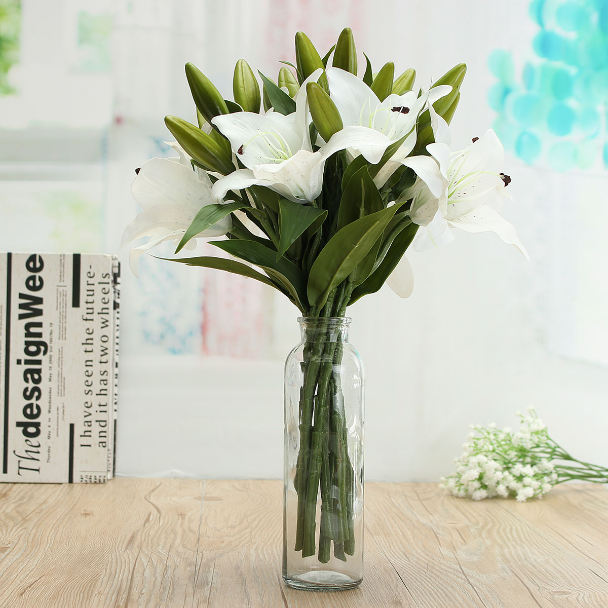 10pcs Lily Artificial Fake Flowers Bouquet Real Touch Wedding Party