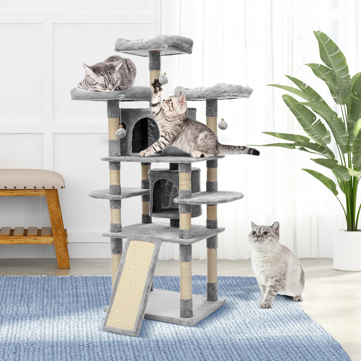 67 Inches Cat Tree For Large Cats Kitty Tower With Scratching Posts Perch Con