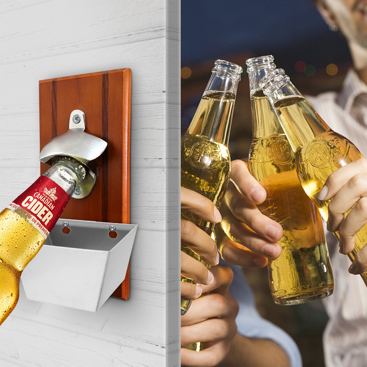 Stainless Steel Wall Mount Bar Beer Glass Cap Bottle Opener With Screws SG