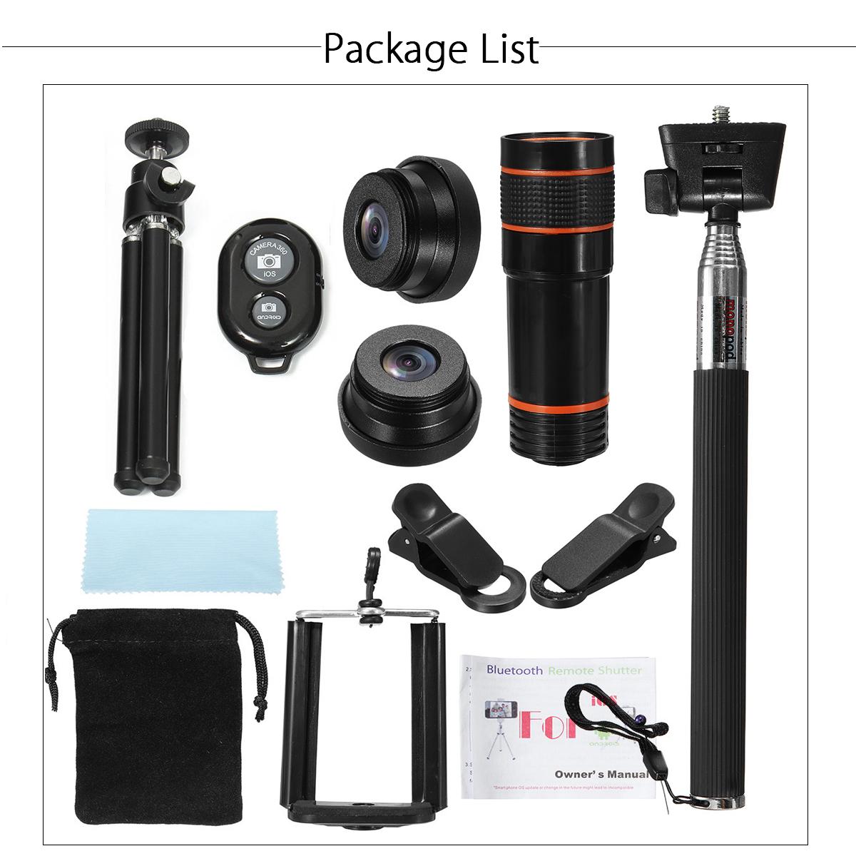 Generic All in1 Phone Camera Lens 12X Telescope Selfie Stick