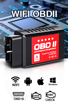Audew Car WiFi OBDII Diagnostic Scanner Code Reader Fits  iOS/Android/Windows Devices, 9V-16V 65mA
