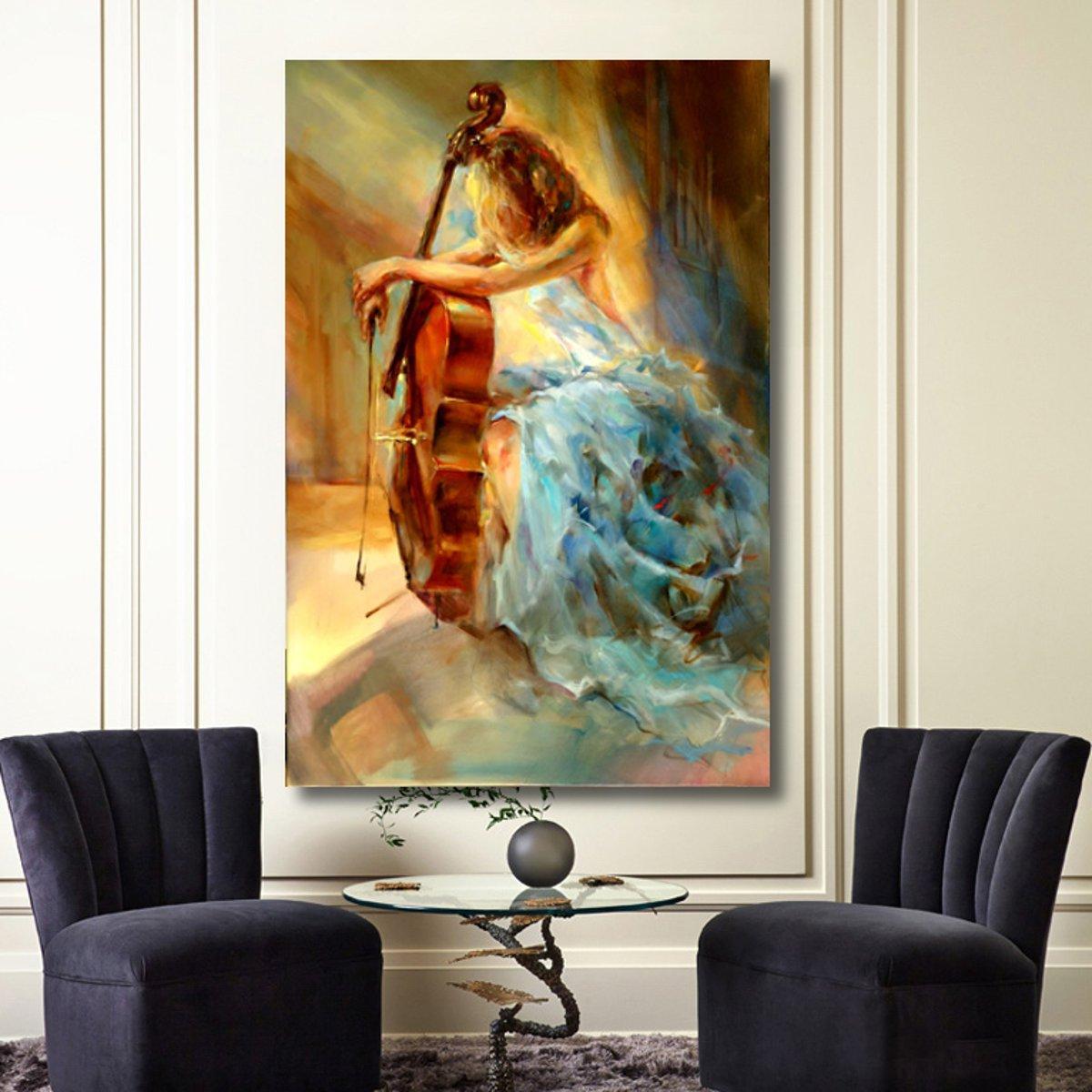 Tempsa peinture l 39 huile tableau fille de violon - Tableau sans cadre ...