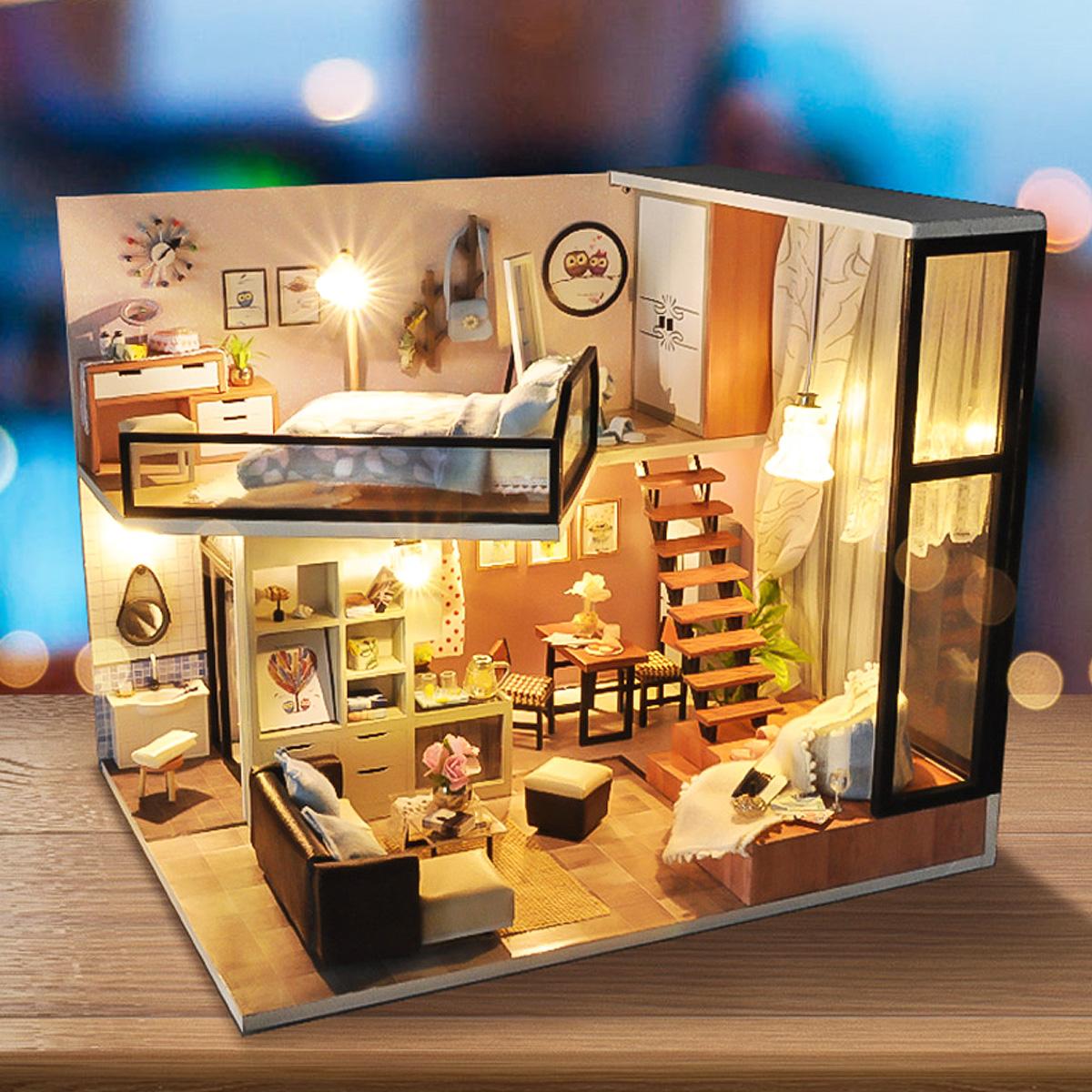 NROCF LED DIY Dollhouse Mod/èle en Bois Salle De Classe 3D D/écore Crafts Creative Simulation Jouets pour Filles Gar/çons Cadeaux