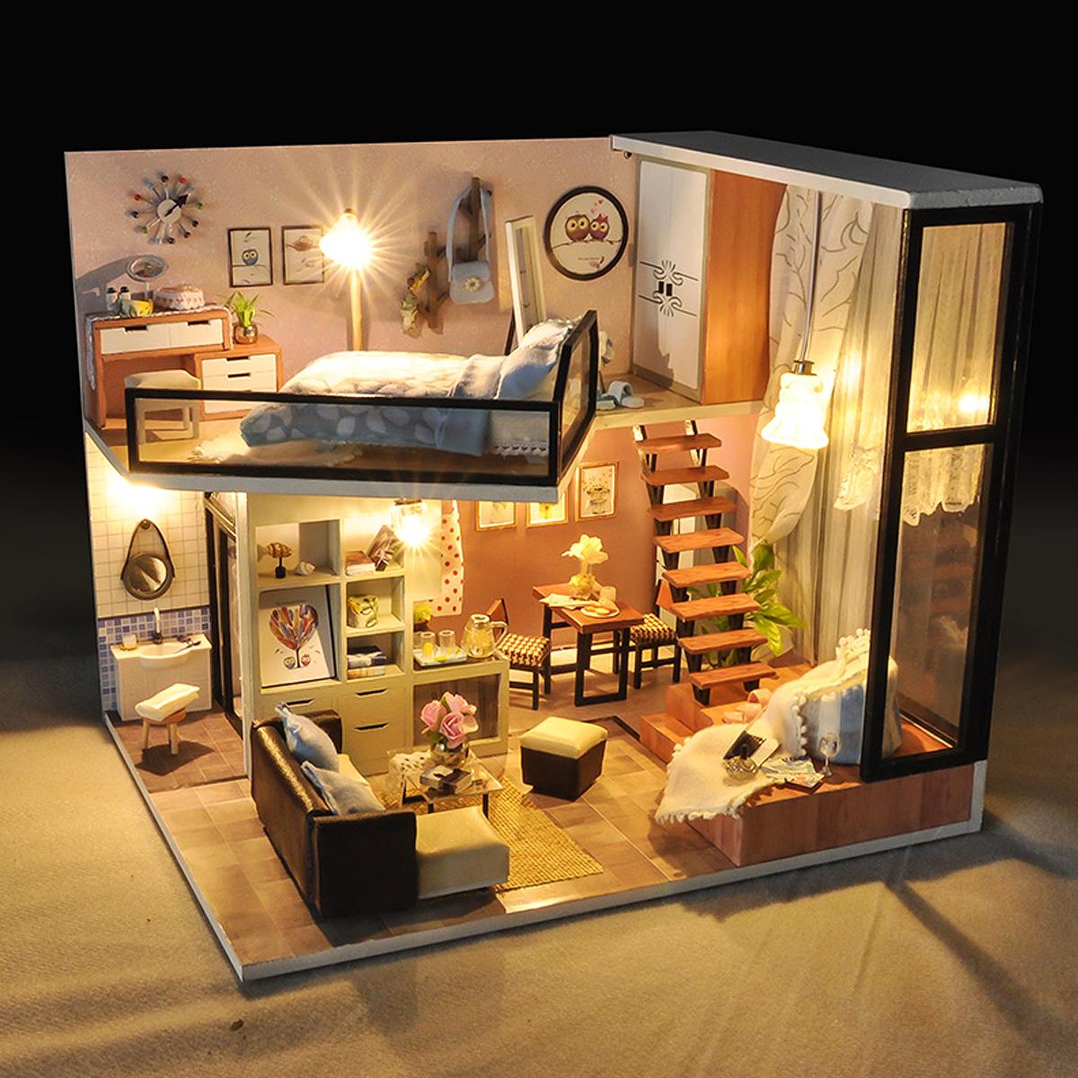 Lumi/ère Piscine Et Musique Blentude Maison De Poup/ées en Bois DIY 3D Dollhouse Miniature Meubles Kit Incluant Accessoires Et Mobilier Appartement Time