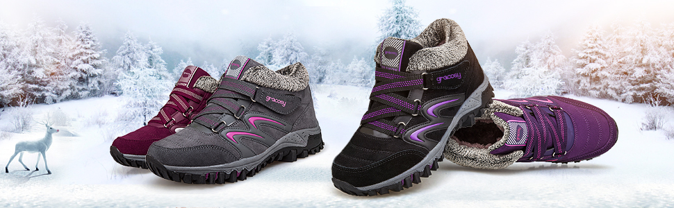 High Top Sneaker Winter Warm Hook Loop Snow Shoes Fur Lining Suede Ankle Bootie gracosy Womens Hiking Shoes