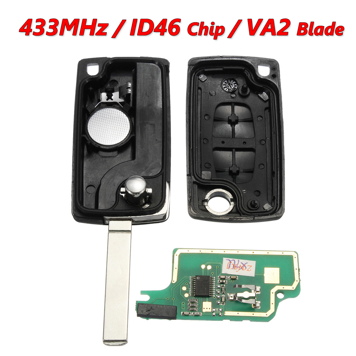 neufu 2 bouton cl transpondeur 433mhz id46 chip va2 pour peugeot 207 407 citroen c2 achat. Black Bedroom Furniture Sets. Home Design Ideas