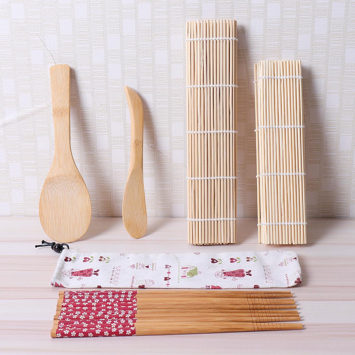 Кухонные ножи и прочие приборы Горячие 9pcs / set sushi roller bamboo mat spoon палочки для приготовления пищи (Фото 5)