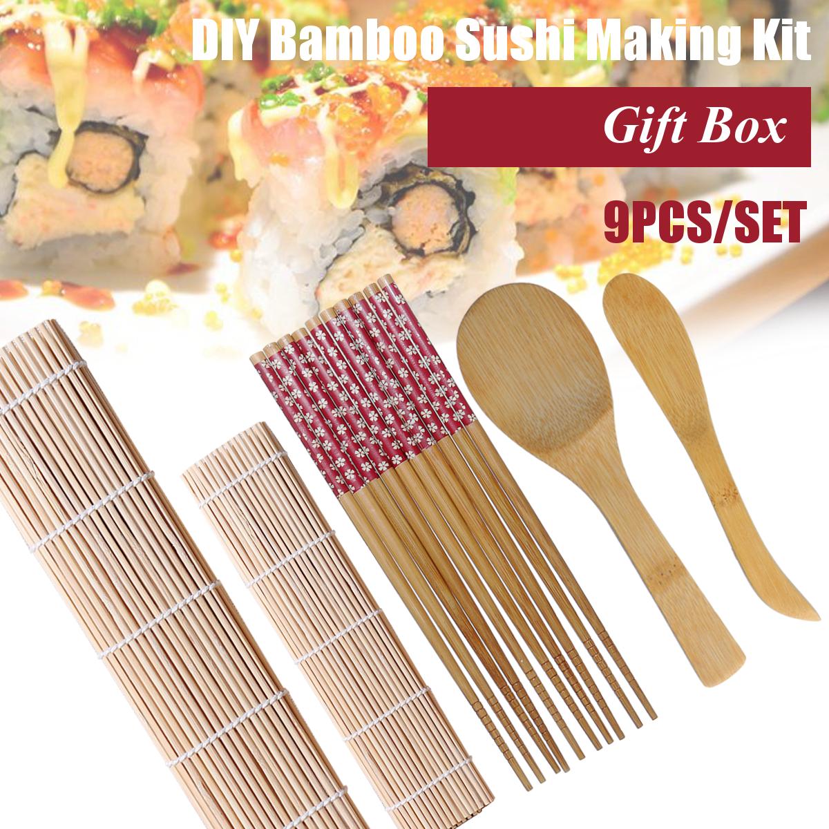 Горячие 9pcs / set sushi roller bamboo mat spoon палочки для приготовления пищи