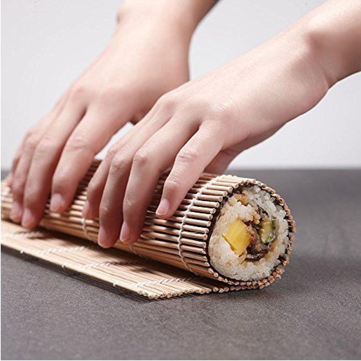 Кухонные ножи и прочие приборы Горячие 9pcs / set sushi roller bamboo mat spoon палочки для приготовления пищи (Фото 1)