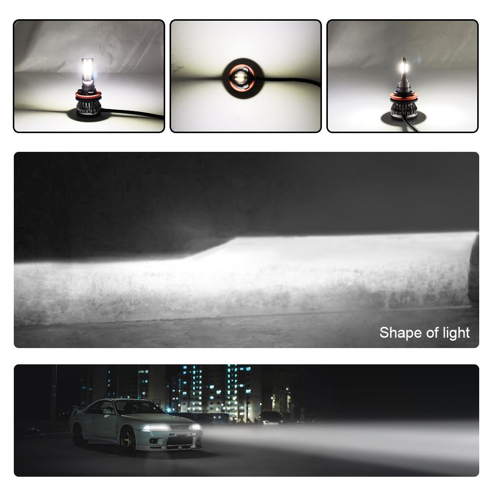 Kit Lampe Phare Avant LED CHIP COB 9005 Lampe LED 6000K HB3 Lampe Phare Avant Bi-X/énon 48W 6000LM Froid Blanc Pure Lampe Tout-en-Un Lampe de Remplacement Garantie 2 Ans Lampe Phare Automatique