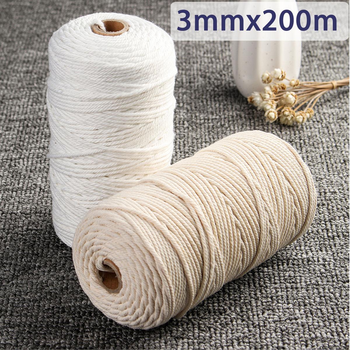 Quelle Ficelle Pour Macramé 3mmx200m macramé coton corde naturel beige bohème tissé fil