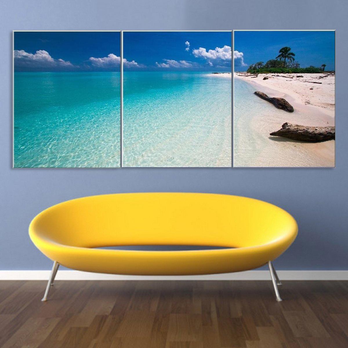 tempsa 3pcs peinture l 39 huile tableau paysage bord de mer moderne toile maison murale avec. Black Bedroom Furniture Sets. Home Design Ideas
