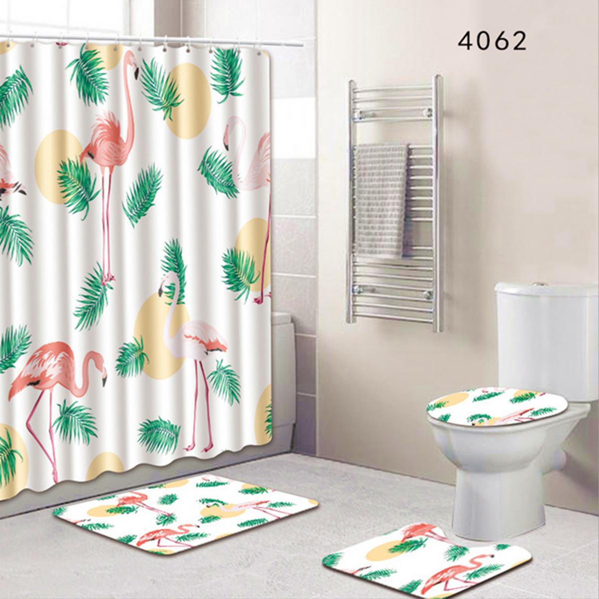 Salle De Bains Toilettes Difference ~ neufu set 4pcs rideau de douche tapis toilettes couvercle salle de