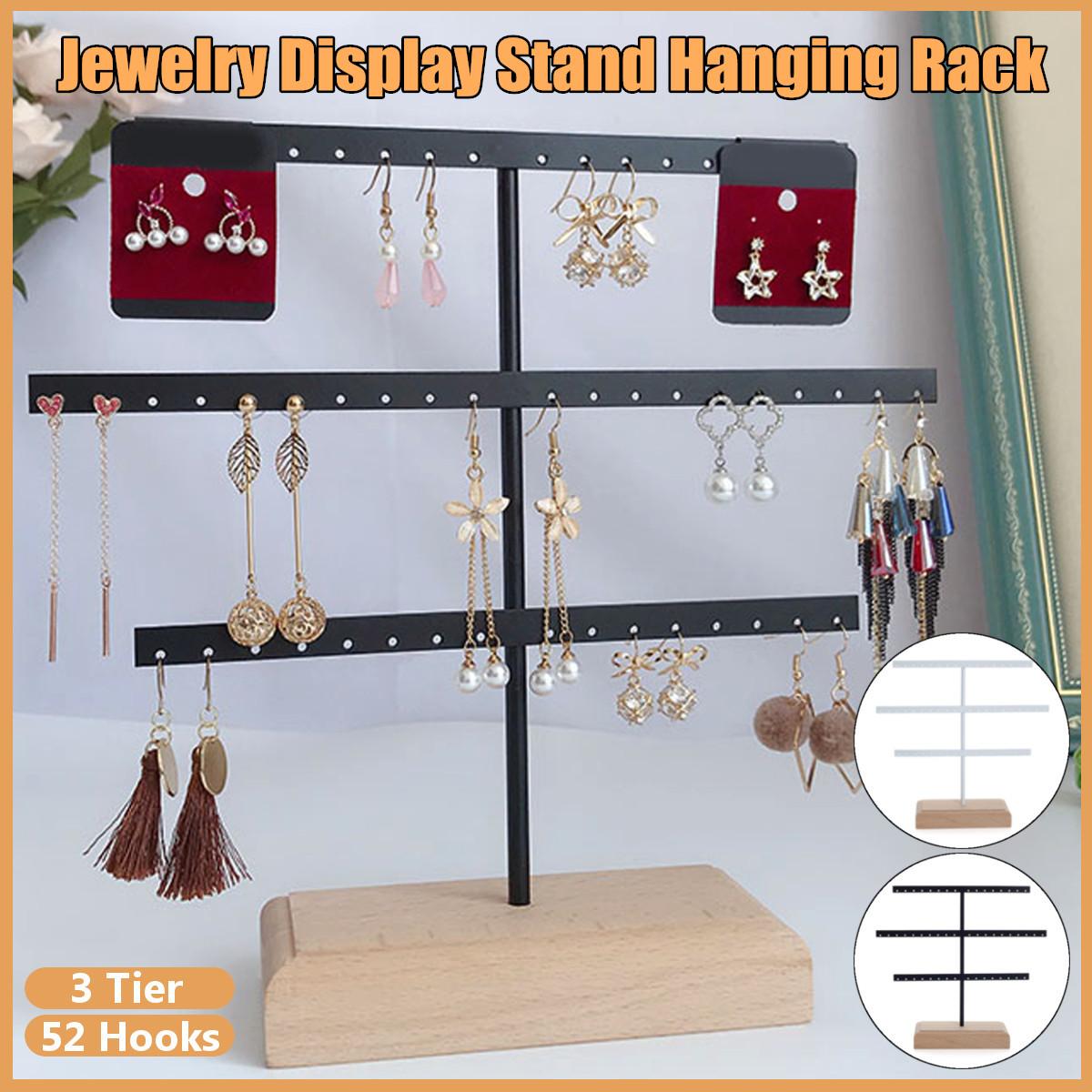 YeBetter Organiseur de bijoux pour boucles doreilles et boucles doreilles avec 52 crochets Noir