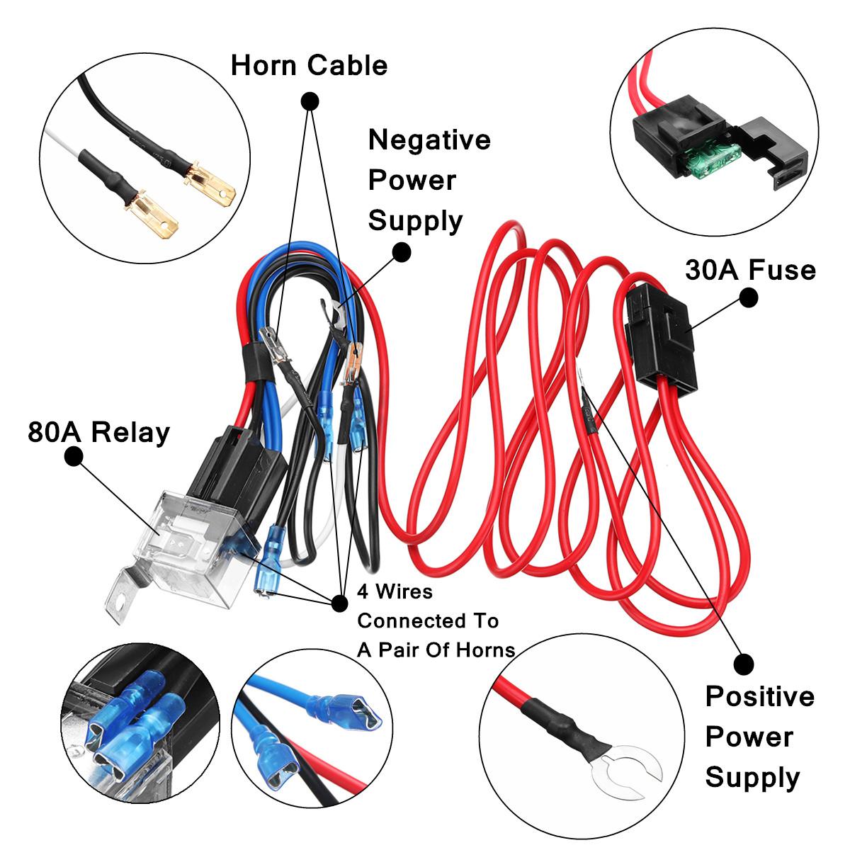 Relais de harnais de klaxon kit de relais de harnais de c/âblage de klaxon 12V universel pour klaxons de tonalit/é de souffle de b/âti de camion de voiture