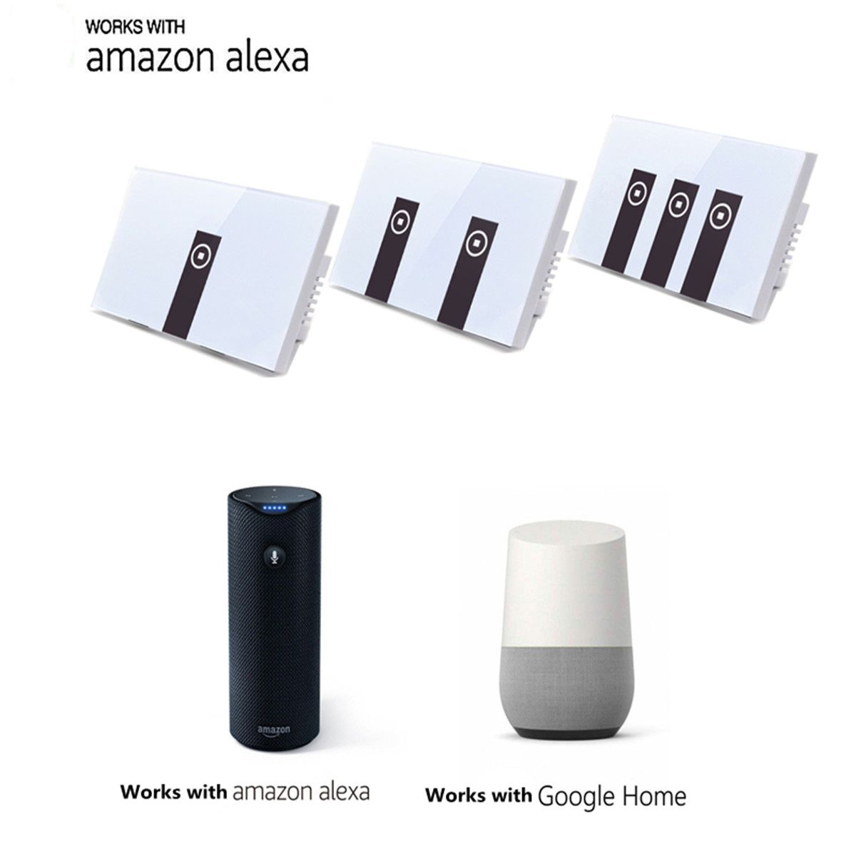 Умный дом Умная панель переключателей из закаленного стекла с голосовым управлением Echo Alexa / Google Home (Фото 3)