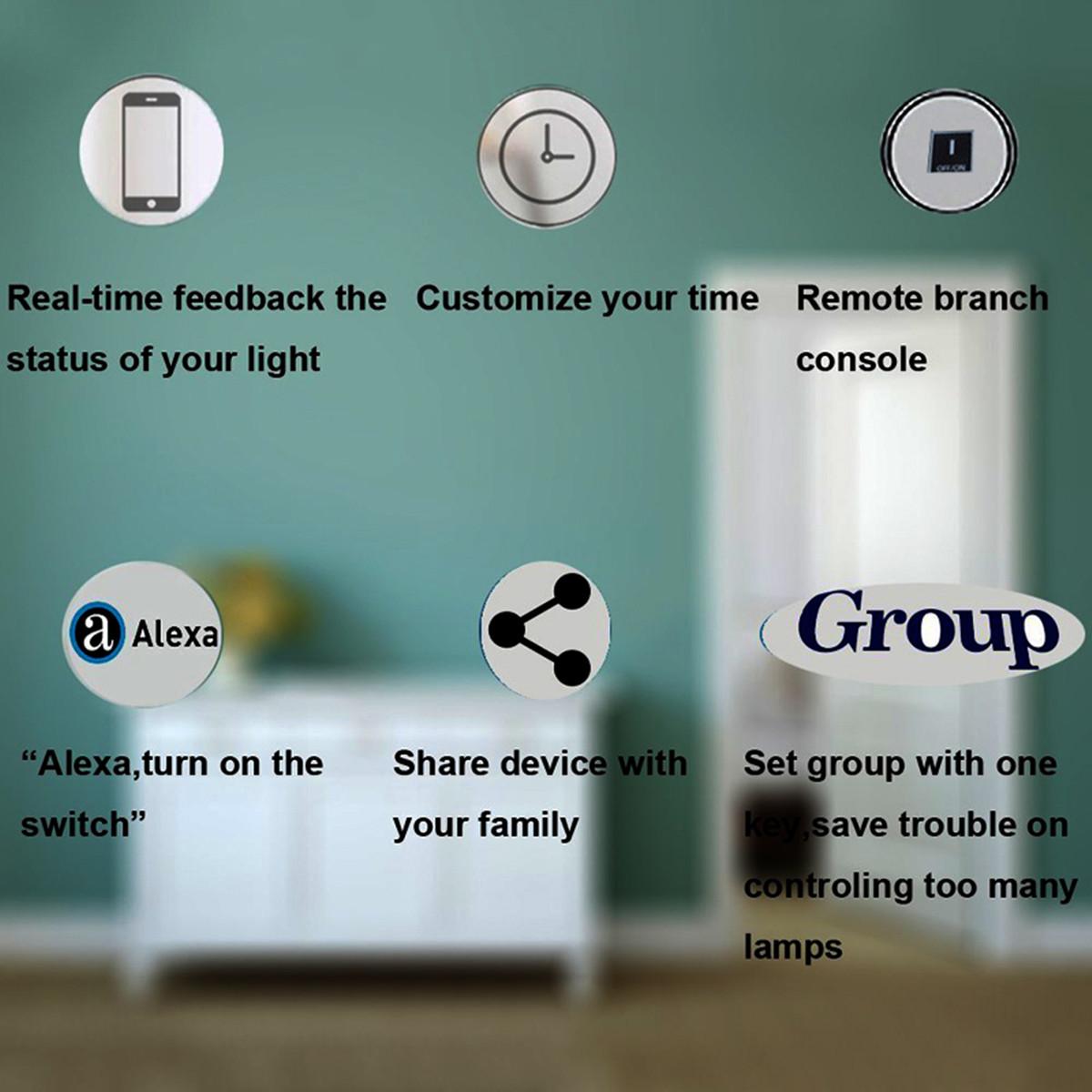 Умный дом Умная панель переключателей из закаленного стекла с голосовым управлением Echo Alexa / Google Home (Фото 1)