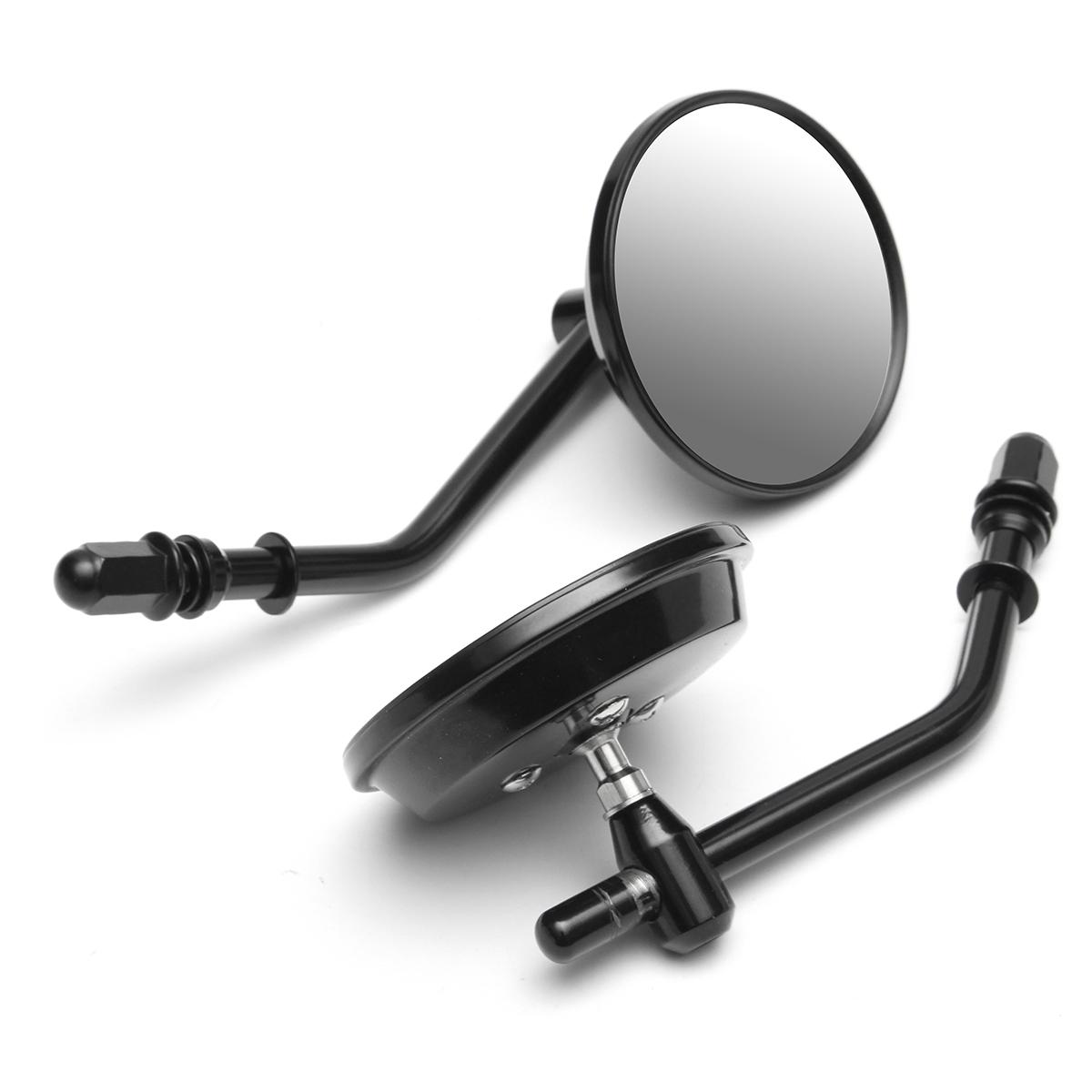 2 Moto Miroir extrémités du Guidon Miroir Set Alu CNC argent universel NEUF