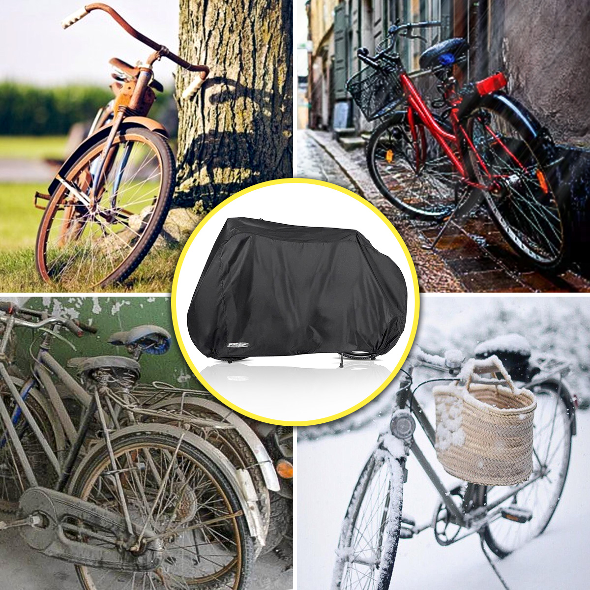 Audew Bike Cover Outdoor Waterproof Bicycle Cover with Lock Holes Windproof Dust