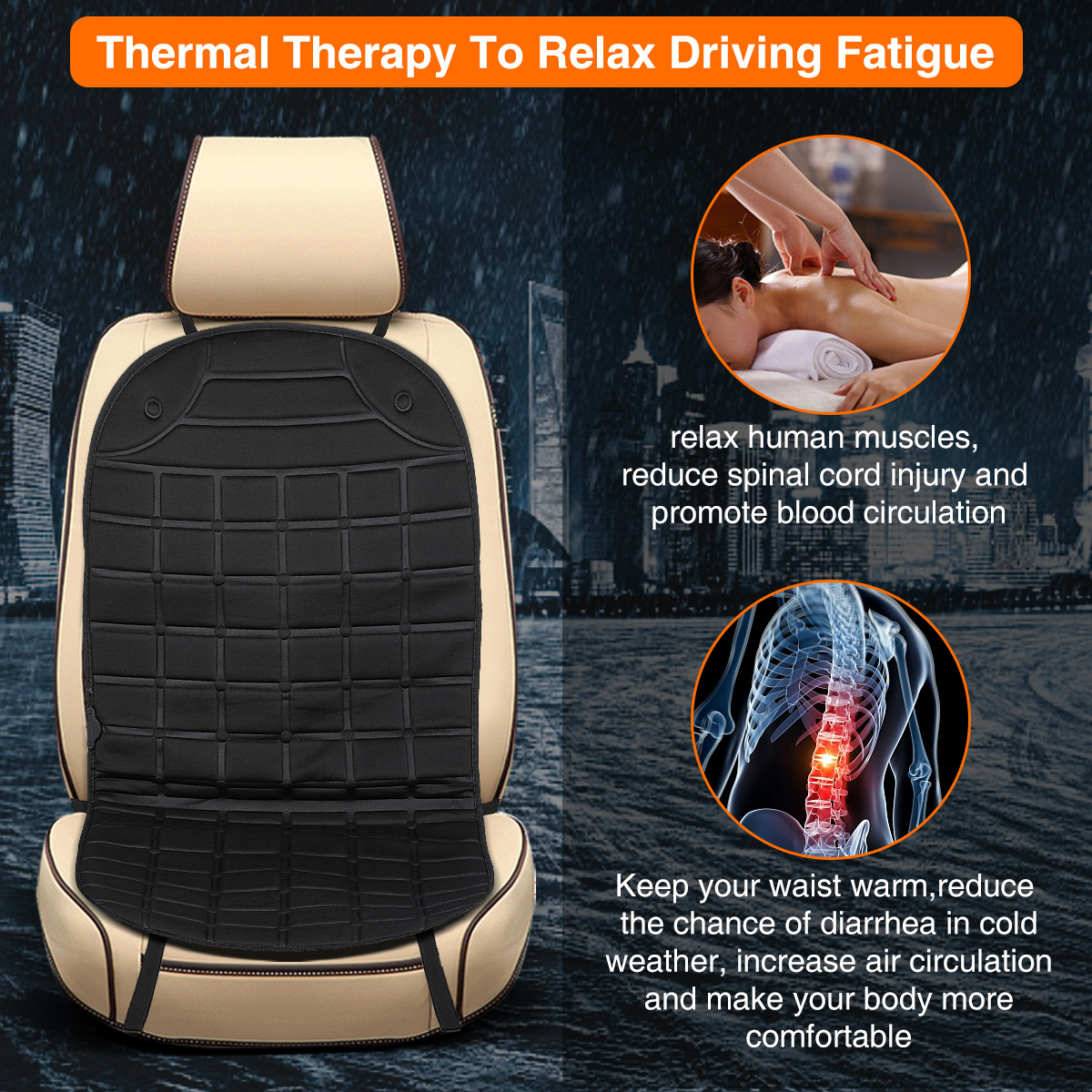 Heated Car Seat 12V Universal Heated Car Seat Covers Car Front Seat Hot Heated Pad Heated Car Seat Pad Cushion Winter Warmer Cover with Intelligent Temperature Controller and Timing,Black 1 Pack