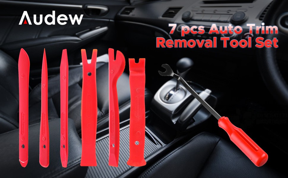 Audew Auto Trim Removal Tool Set 7 pcs - Strong Nylon Panel Trim Removal Kit Fastener Remover Tool Kit for Dash Door Panel Molding Pry Tool Kit