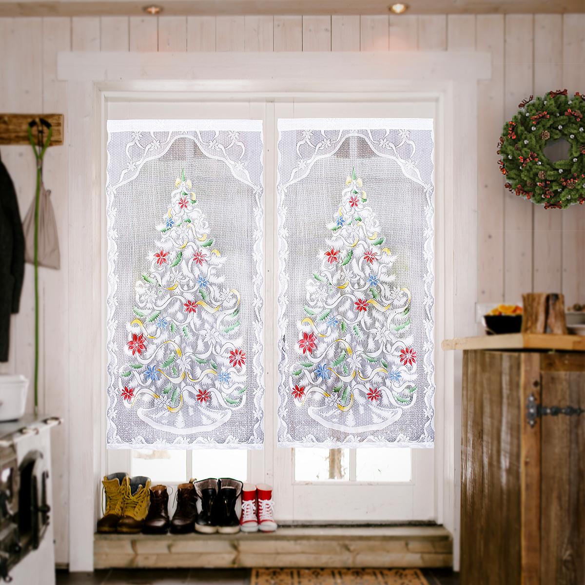 Photo De Rideau Pour Fenetre 213cm x 101cm rideaux de fenêtre décoration dentelle sapin
