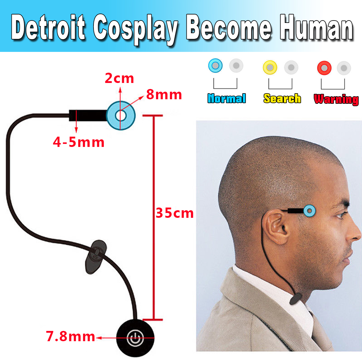 16313a80a Generic Detroit Cosplay Connor RK800 Become Human Temple Head LED ...