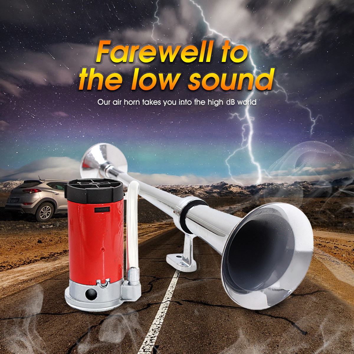 Premium Quality Single Trumpet Air Horn Chrome Audew 12V Single Trumpet Air Horn Compressor Super Loud 150db for Truck Lorry Boat SUV Train