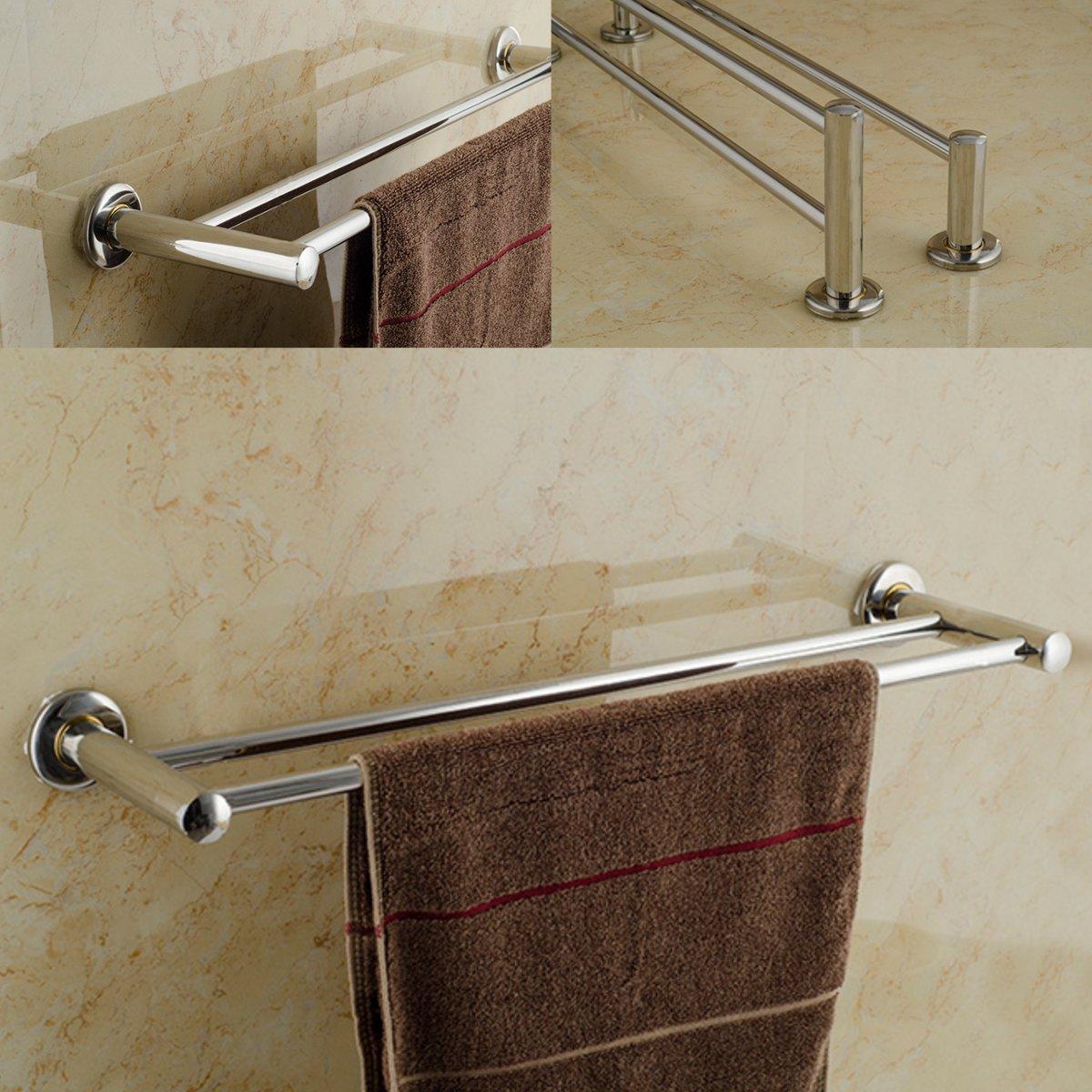 Double 40 cm Acier inoxydable Aothpher mural en acier inoxydable 304 Finition Chrome Salle de bain serviette de bar,