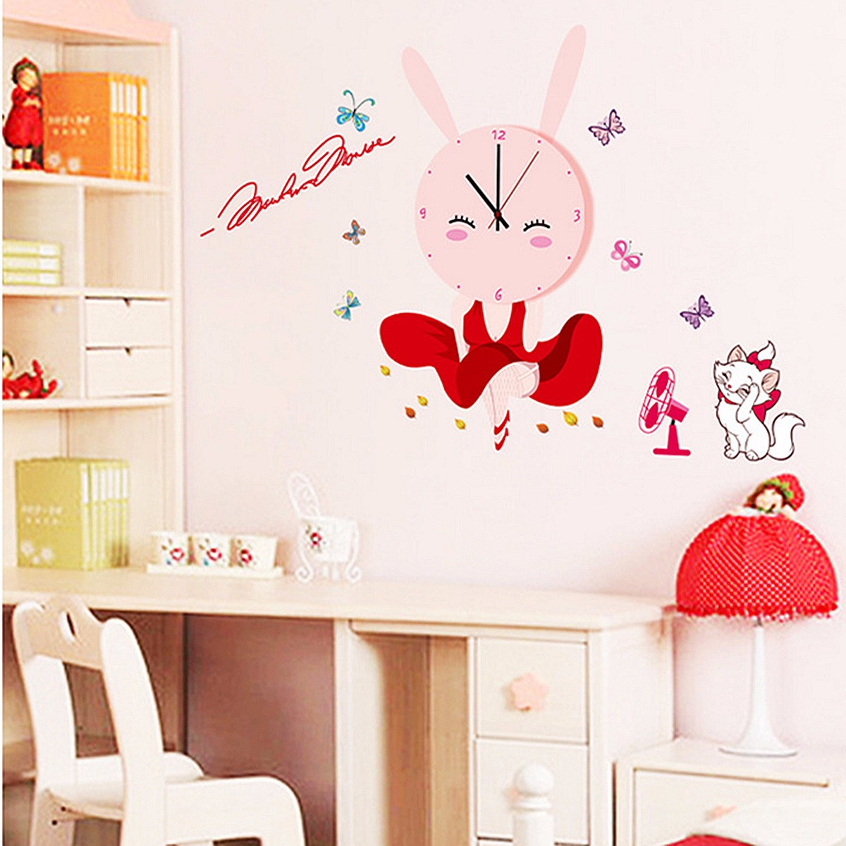 3d diy creative cartoon wall clock with wall stickers for for Room decor lazada