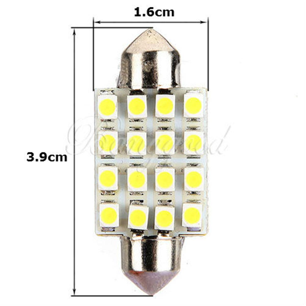 2 ampoules à LED navettes 41  mm 16 LED éclairage plafonnier C5W   Blanc  24 V
