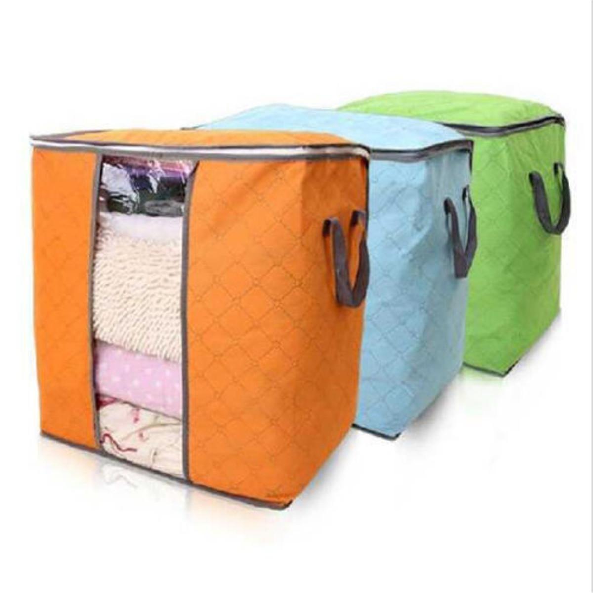 sac housse rangement pour couette v tement stockage bo te pliable 48x28x50cm bleu achat. Black Bedroom Furniture Sets. Home Design Ideas