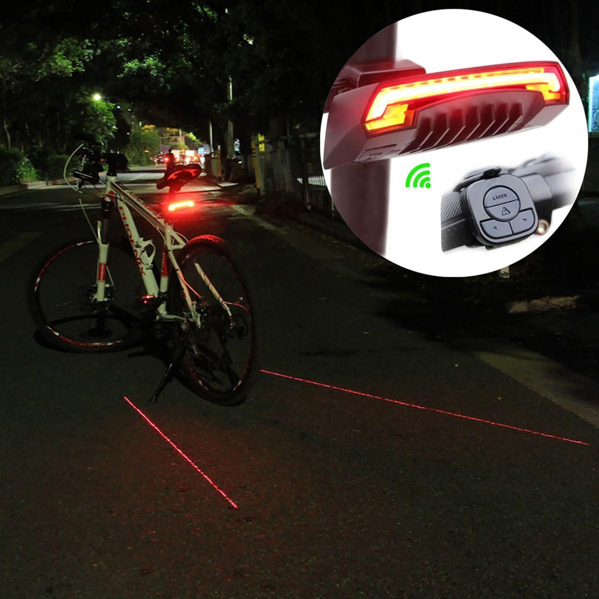 Laser Lane DEL Bike Light vélos sécurité nuit Cycle Rouge Faisceau Feu Arrière Avant